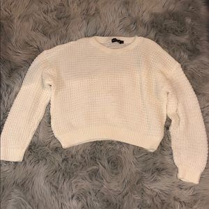 White Crop Knitted Sweater